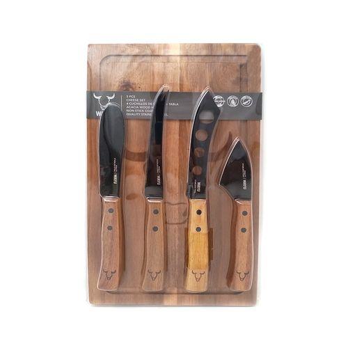 Set 5 piezas tabla + 4 cochillos de madera
