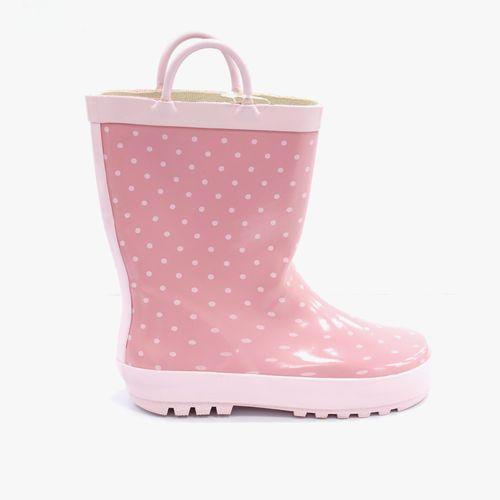 Bota de agua rosada con puntos para niña