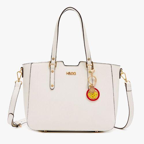 Cartera satchel h&co color solid white logo para dama