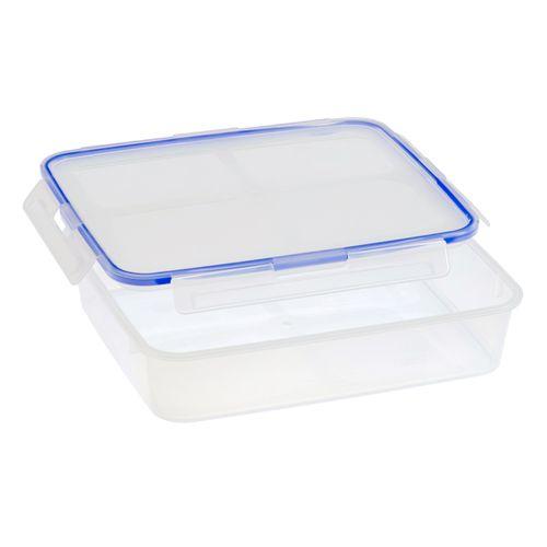 Contenedor hermetico rectangular 8 tazas con tapa azul