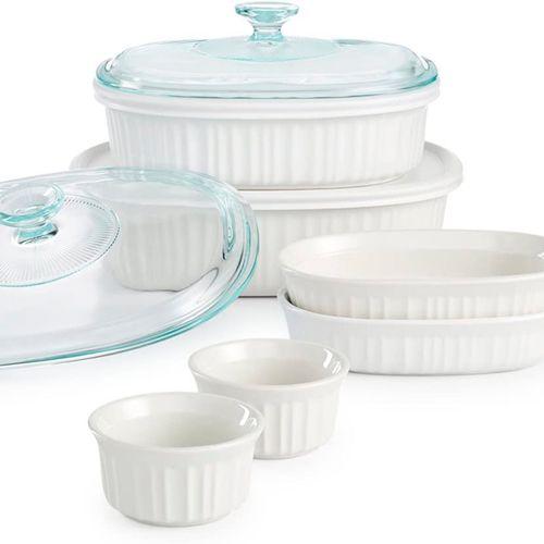 Set de 10 piezas de moldes para hornear ovalados en color blancos