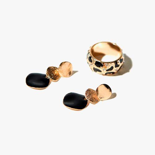 Set aretes y anillo conjunto animal metal