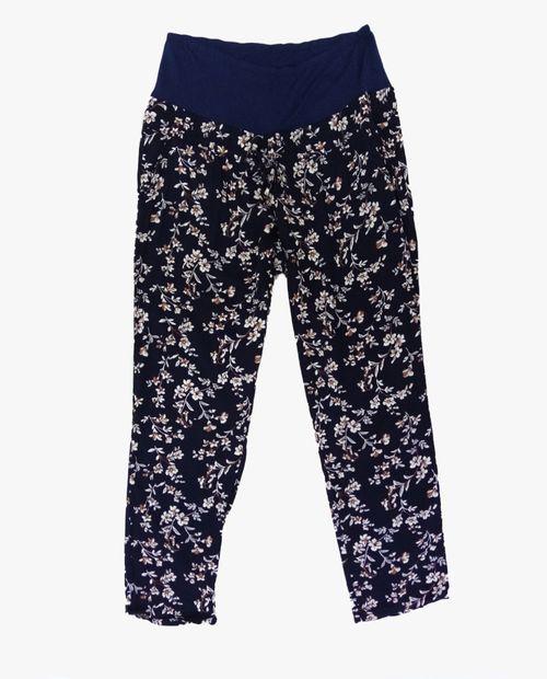 Pantalón fluido flores en navy