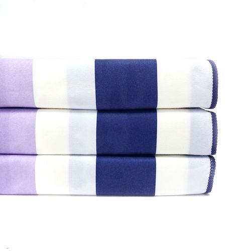 Toalla cabana microfibra reversible 31x63 azul marino/lila