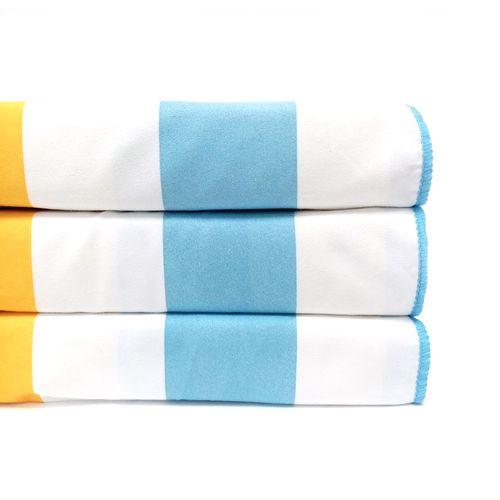 Toalla cabana microfibra reversible 31x63 azul/amarillo