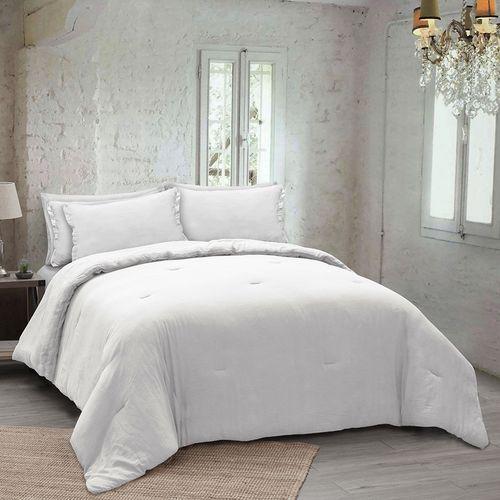Edredón washed algodon 3pc algodon king blanco