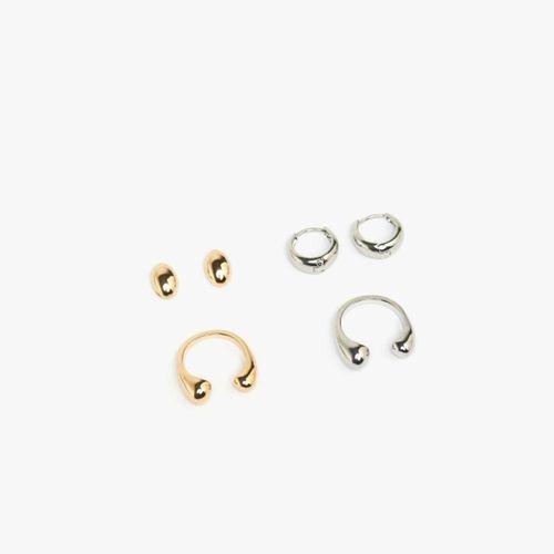 Set anillo y aretes metales abiertos