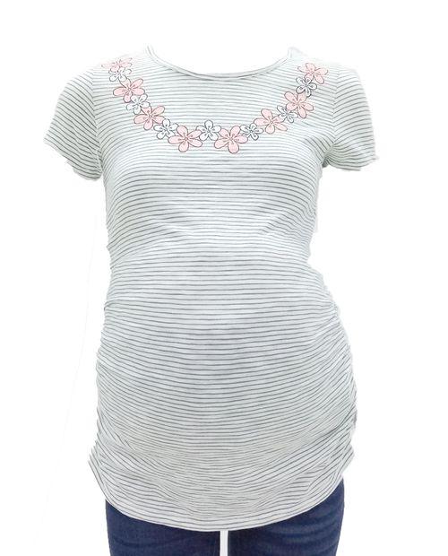 Camiseta cuello redondo print flores cuello