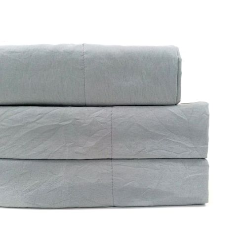 Sábana sólida microfibra maison zoé laundry 4pc gris queen