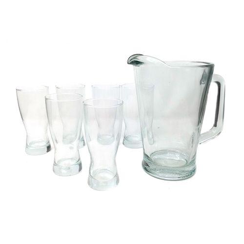 Juego 7 piezas pichel cervecero+6 vasos beer party