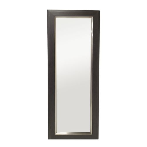 Espejo con marco café filo plateado  52x146cm