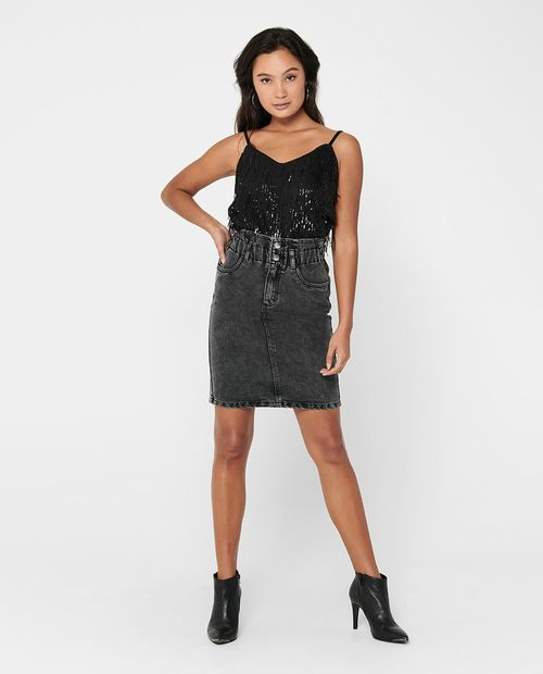 Falda cintura alta elástica gris denim
