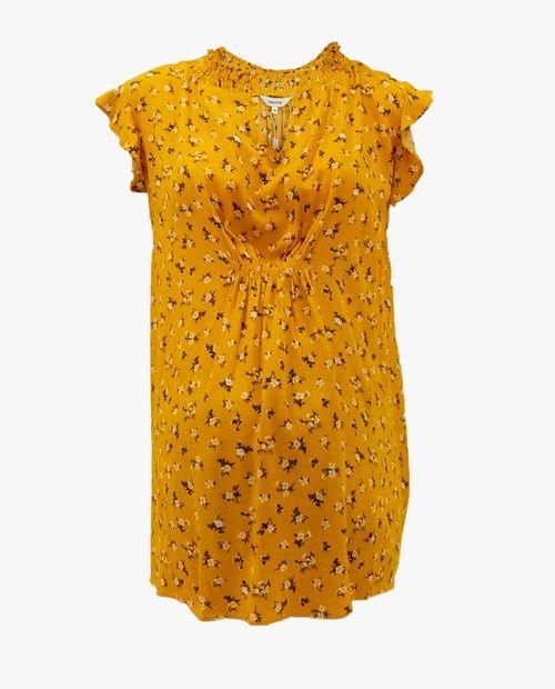 Blusa manga corta estampado floral en mostaza