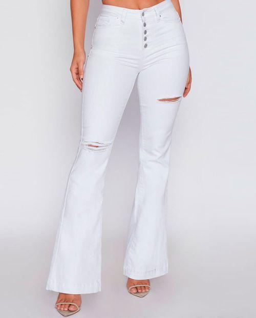 Jeans sólido bootcut color blanco