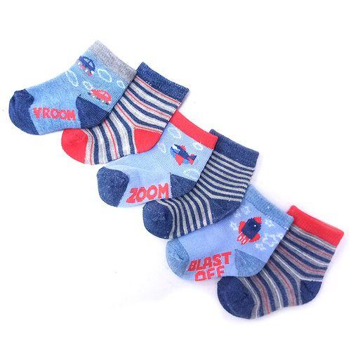 6 pack de calcetines para niño de carritos y aviones 0-9m