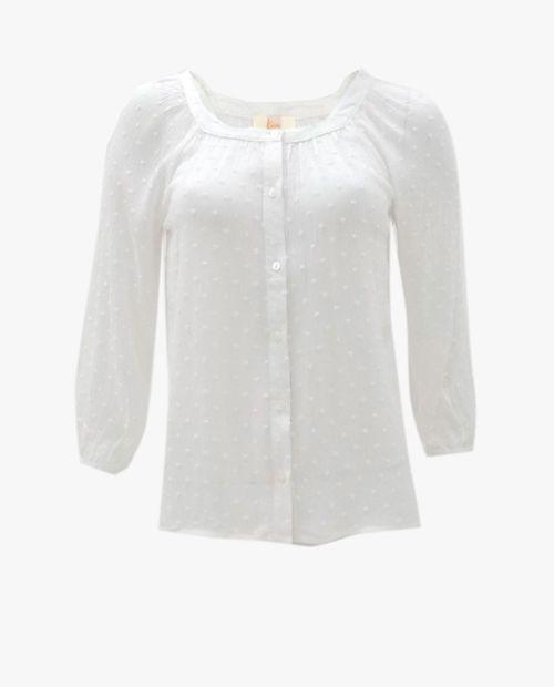 Blusa botones swiss dot blanco