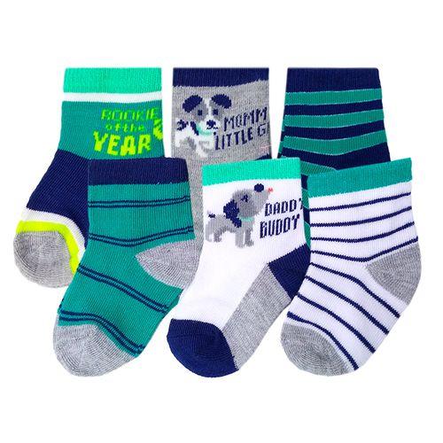 6 pack de calcetines rayados de colores para niño 0-9m
