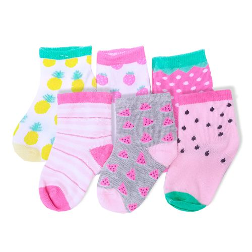 6 pack de calcetines de frutas para niñas 12-24m