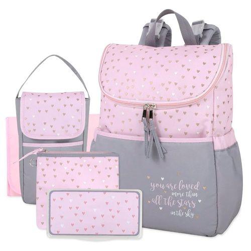 Pañalera 5 piezas back pack rosada