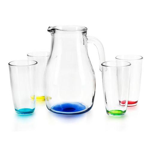 Set 5 piezas  jarra 1.85 litros+ vasos atom colores 316 ml