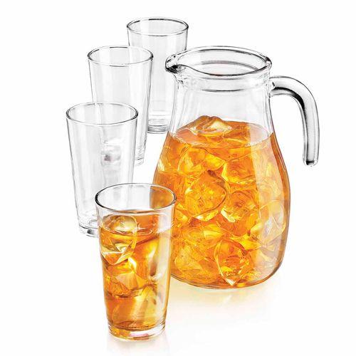 Set 5 piezas  jarra + vasos  de vidrio