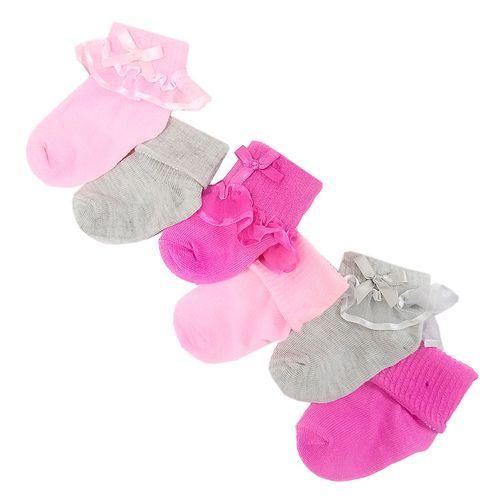 6 pack calcetines de organza lazos y revuelos rosado