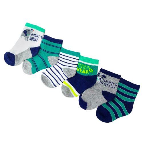 6 pack de calcetines rayados de colores para niño 12-24m