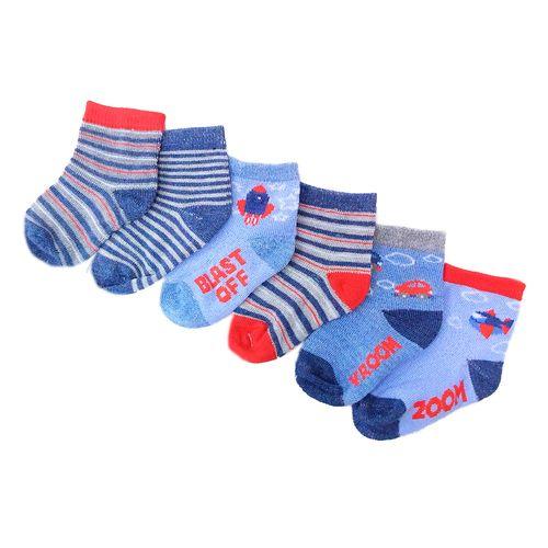 6 pack de calcetines para niño de carritos y aviones 12-24m