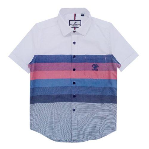 Camisa blanca manga corta color block
