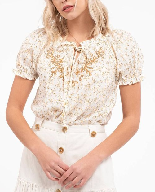 Blusa con bordado manga corta brown multi