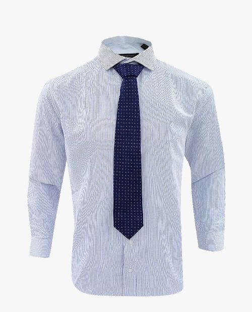 Camisa blanca rayas azules con corbata miniprint celeste