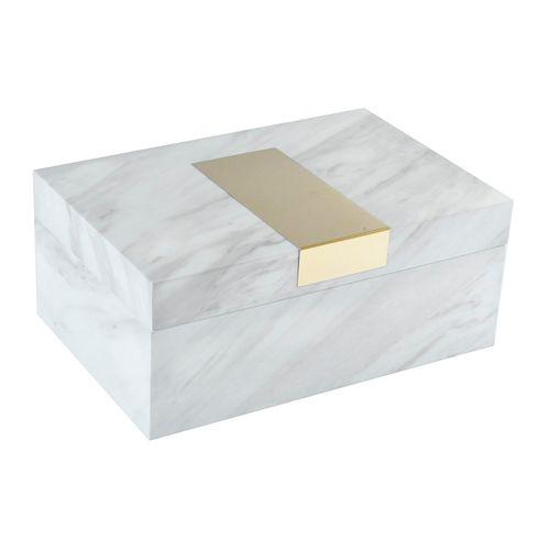 Caja decorativo marmoleada- mahogany 24x16x10cm