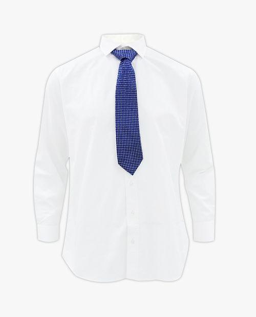 Camisa blanca con corbata navy miniprint rectángulos