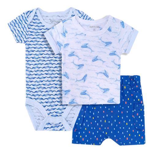 3 piezas conjunto para niño mameluco short y camisa tiburones
