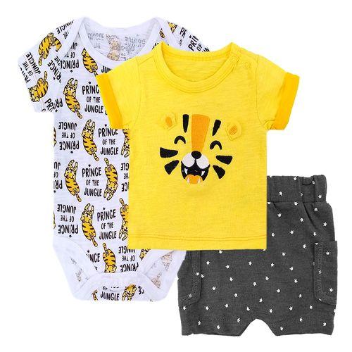 3 piezas conjunto para niño mameluco short y camisa tigre