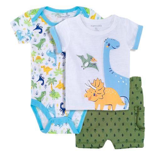 3 piezas conjunto para niño mameluco short y camisa dinosaurio