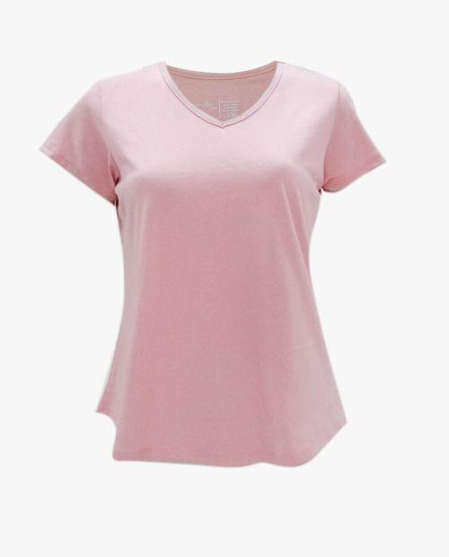 Camiseta manga corta básica cuello v sólida