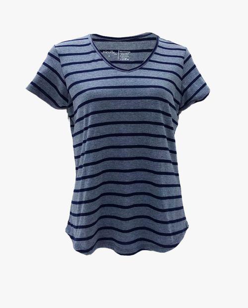 Camiseta manga corta básica cuello v rayas