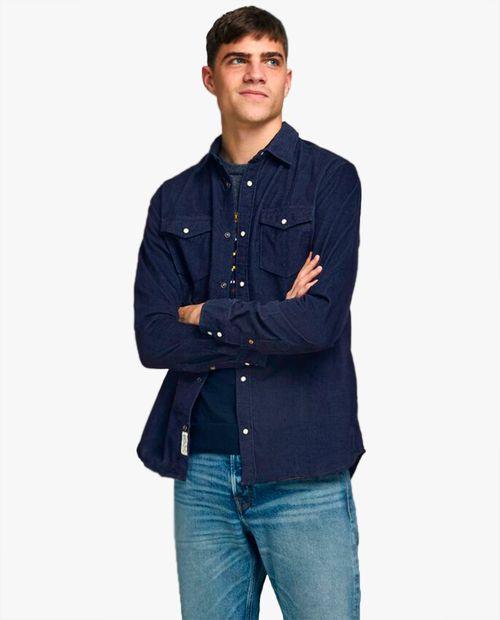 Camisa denim manga larga dark blue para hombre