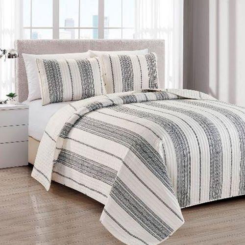 Cubrecama 3pc - f/queen wesley stripe grey