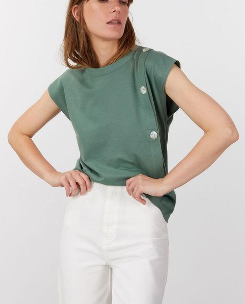 Camiseta botones básica verde medio