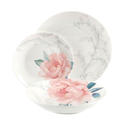 Vajilla 12 piezas decorativoacion  blanco con rosado
