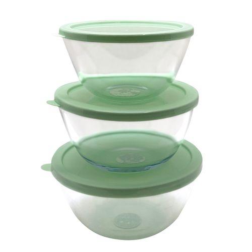 Set 3 depositos redondos  para guardar comida con tapa