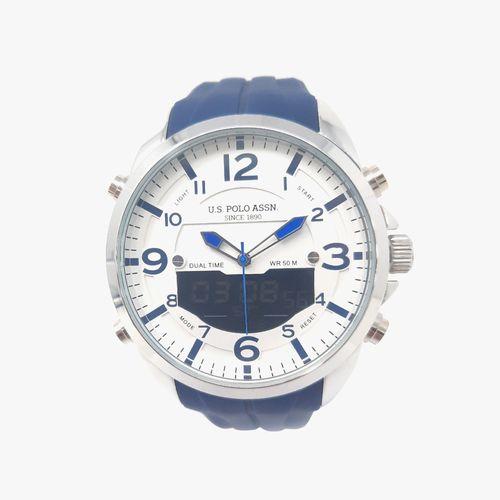 Reloj análogo digital con correa de caucho blanco para caballero