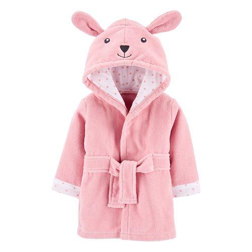 Bata de baño rosa de conejito para niña