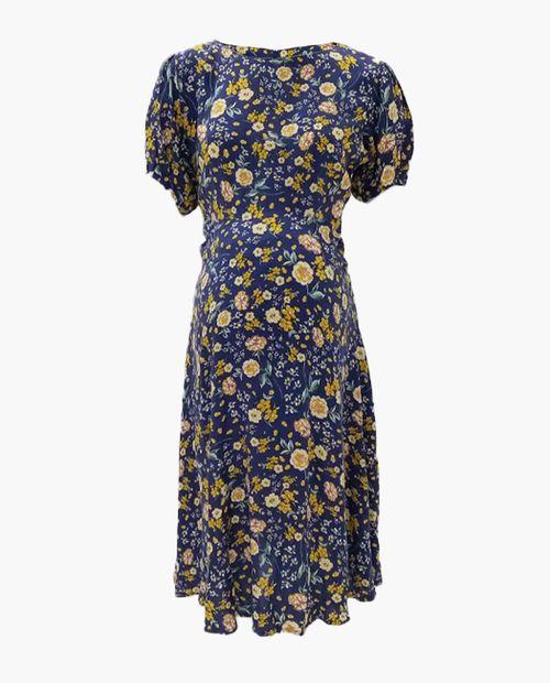 Vestido maternal floreado con sipper invisible en espalda