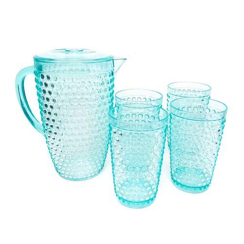 Set pichel + 4 vasos 21oz aqua