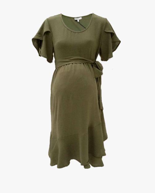 Vestido maternal con escarola en manga y laza en cintura