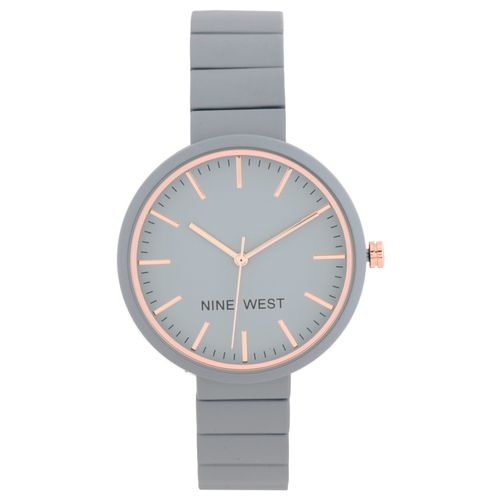 Reloj análogo metálico cubierto de goma gris dama
