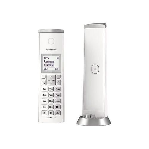 Teléfono inalámbrico cilíndrico blanco